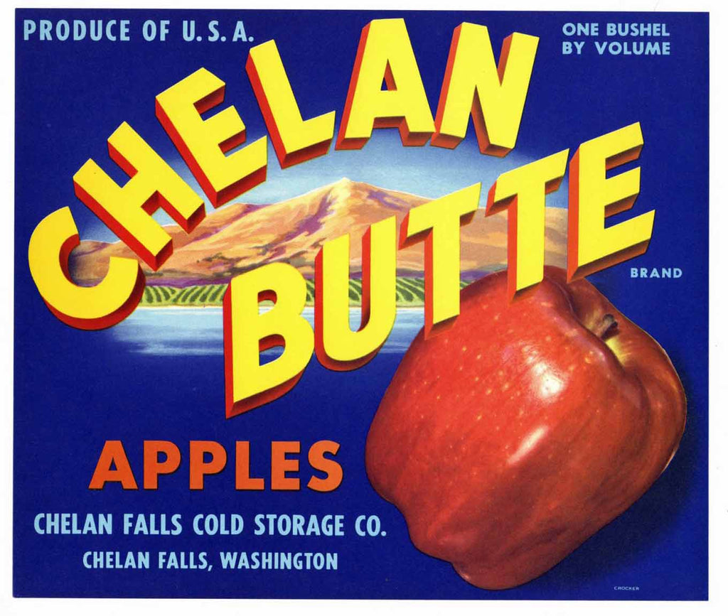 Chelan Butte Brand Vintage Washington Apple Crate Label