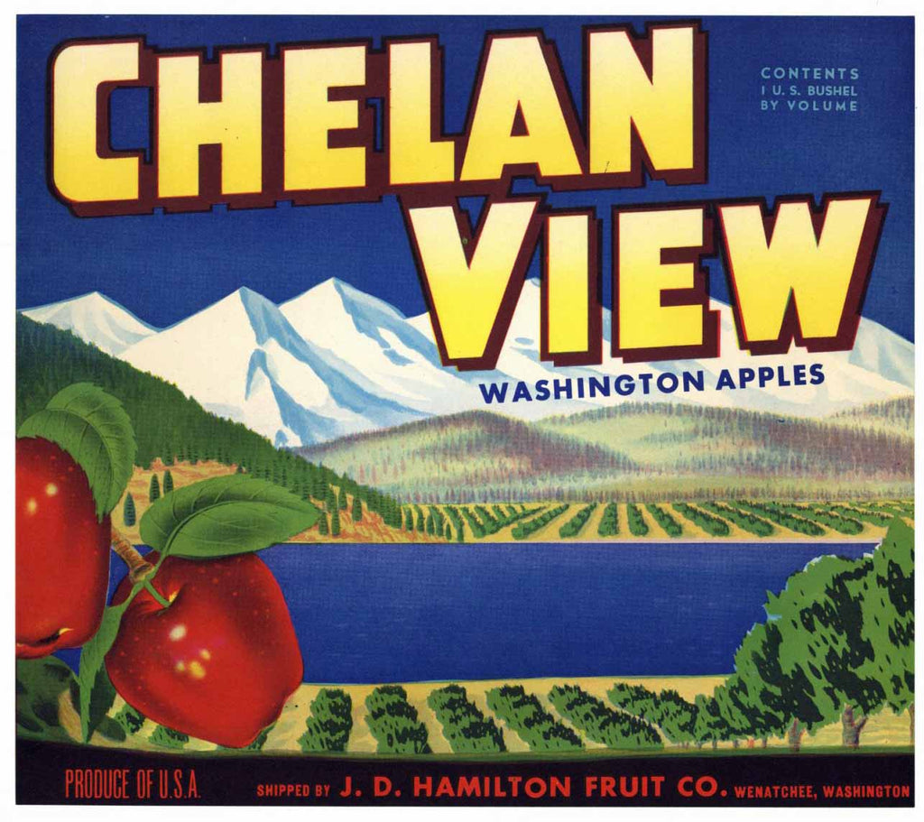 Chelan View Brand Vintage Wenatchee Washington Apple Crate Label