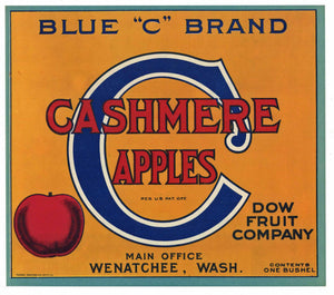 Blue C Brand Vintage Wenatchee Washington Apple Crate Label