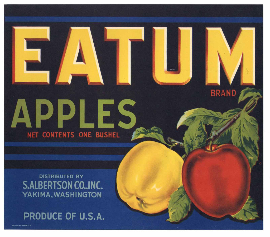 Eatum Brand Vintage Yakima Washington Apple Crate Label
