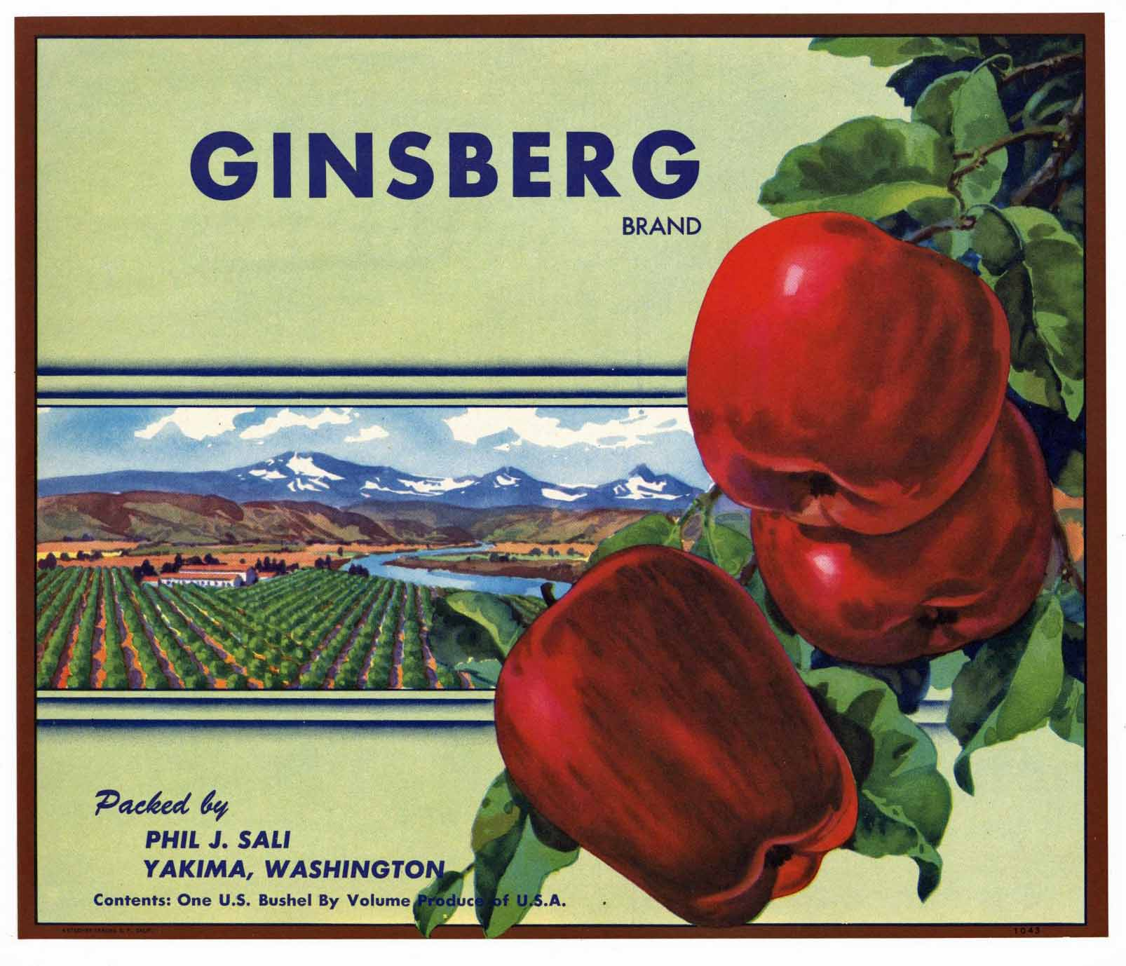 Ginsberg Brand Vintage Yakima Washington Apple Crate Label