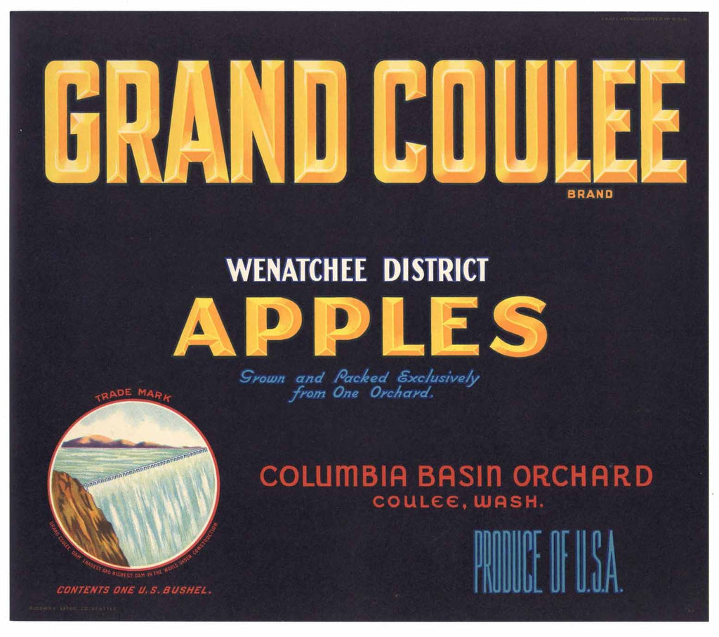 Grand Coulee Brand Vintage Washington Apple Crate Label, n