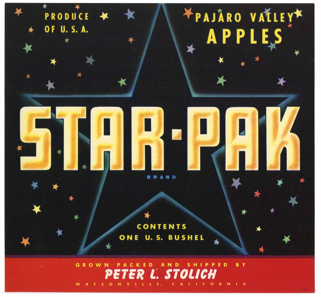 Star Pak Brand Vintage Watsonville Apple Crate Label