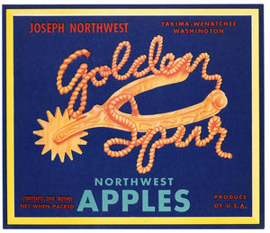 Golden Spur Brand Vintage Yakima Washington Apple Crate Label