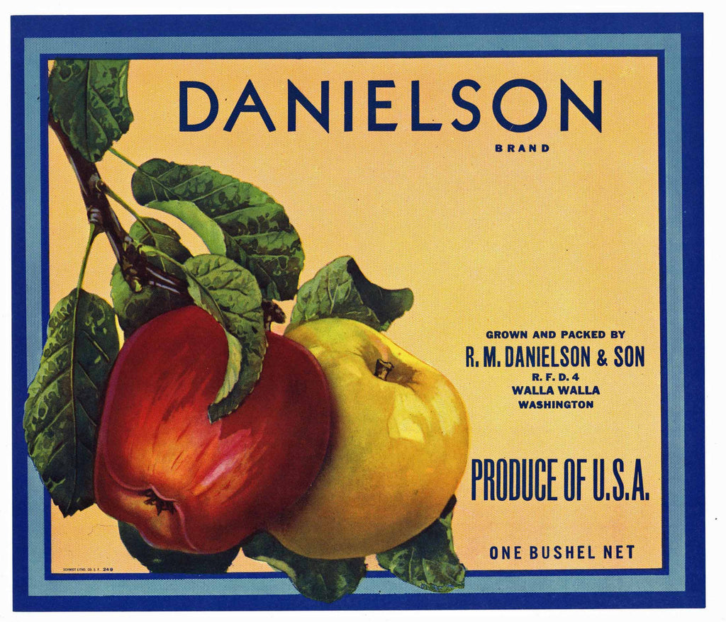 Danielson Brand Vintage Walla Walla Washignton Apple Crate Label