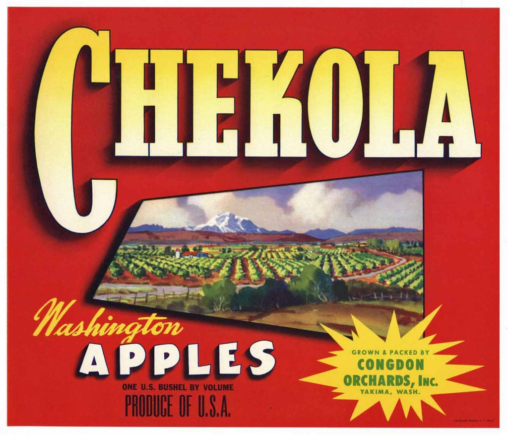 Chekola Brand Vintage Yakima Washington Apple Crate Label