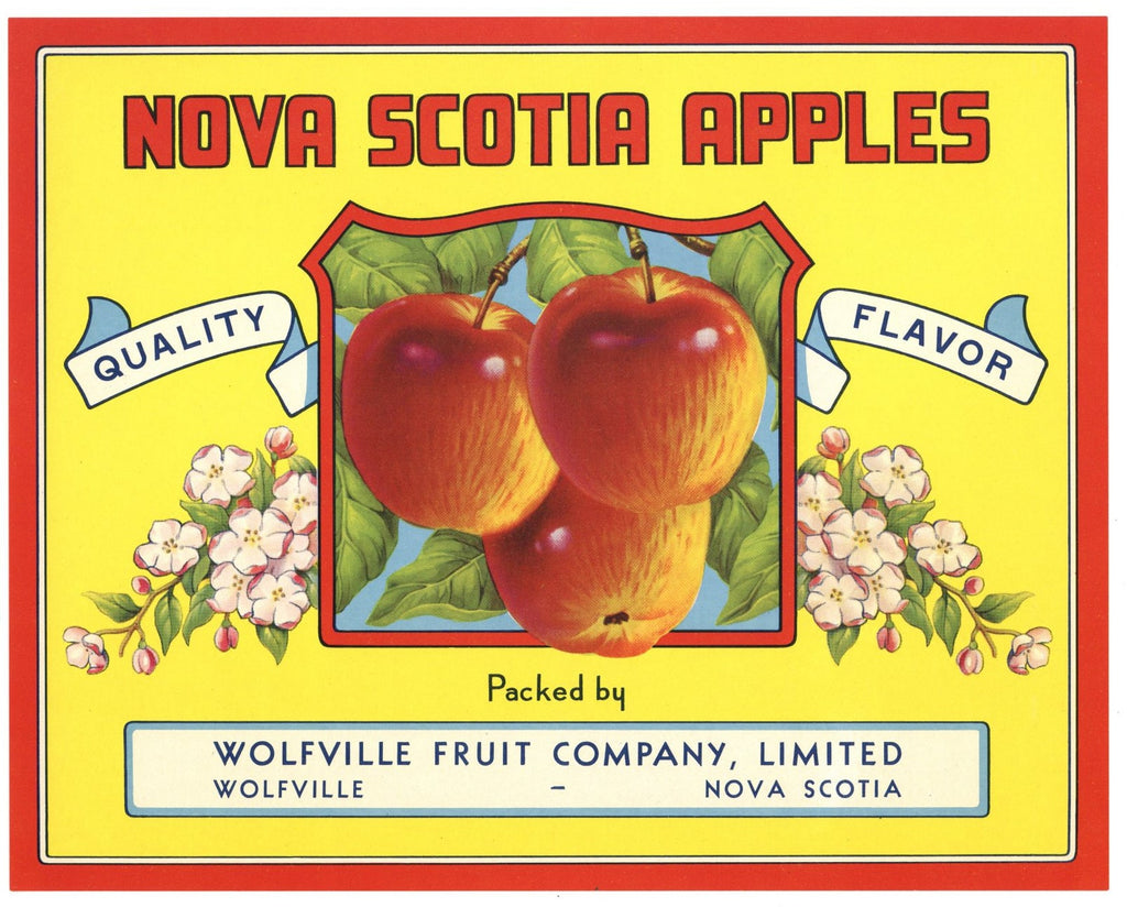 Nova Scotia Apples Brand Vintage Canadian Apple Crate Label