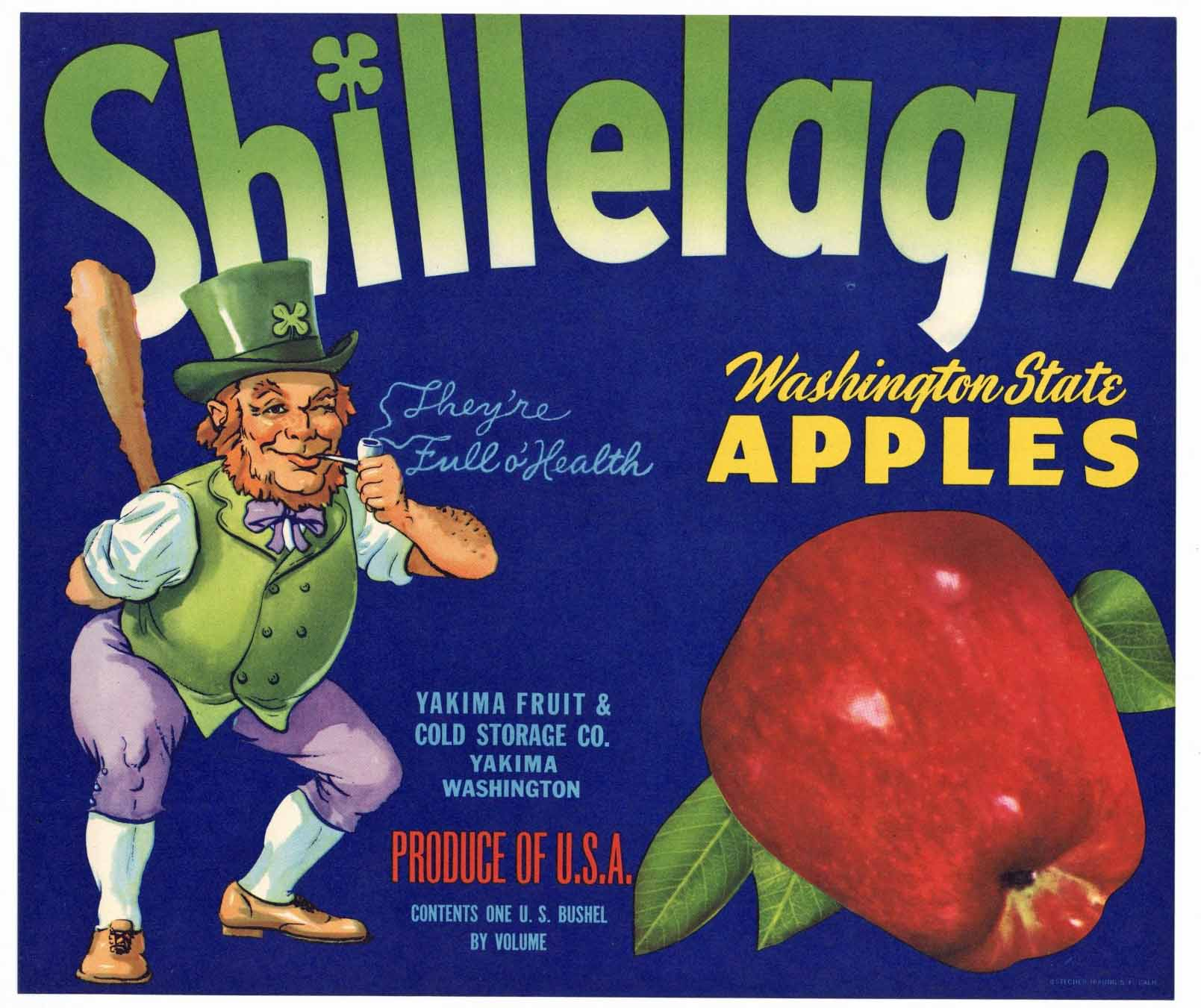 Shillelagh Brand Vintage Yakima Apple Crate Label