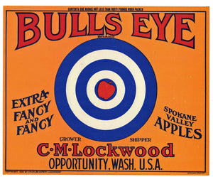 Bulls Eye Brand Vintage Washington Apple Crate Label, o