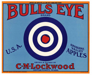 Bulls Eye Brand Vintage Washington Apple Crate Label, b