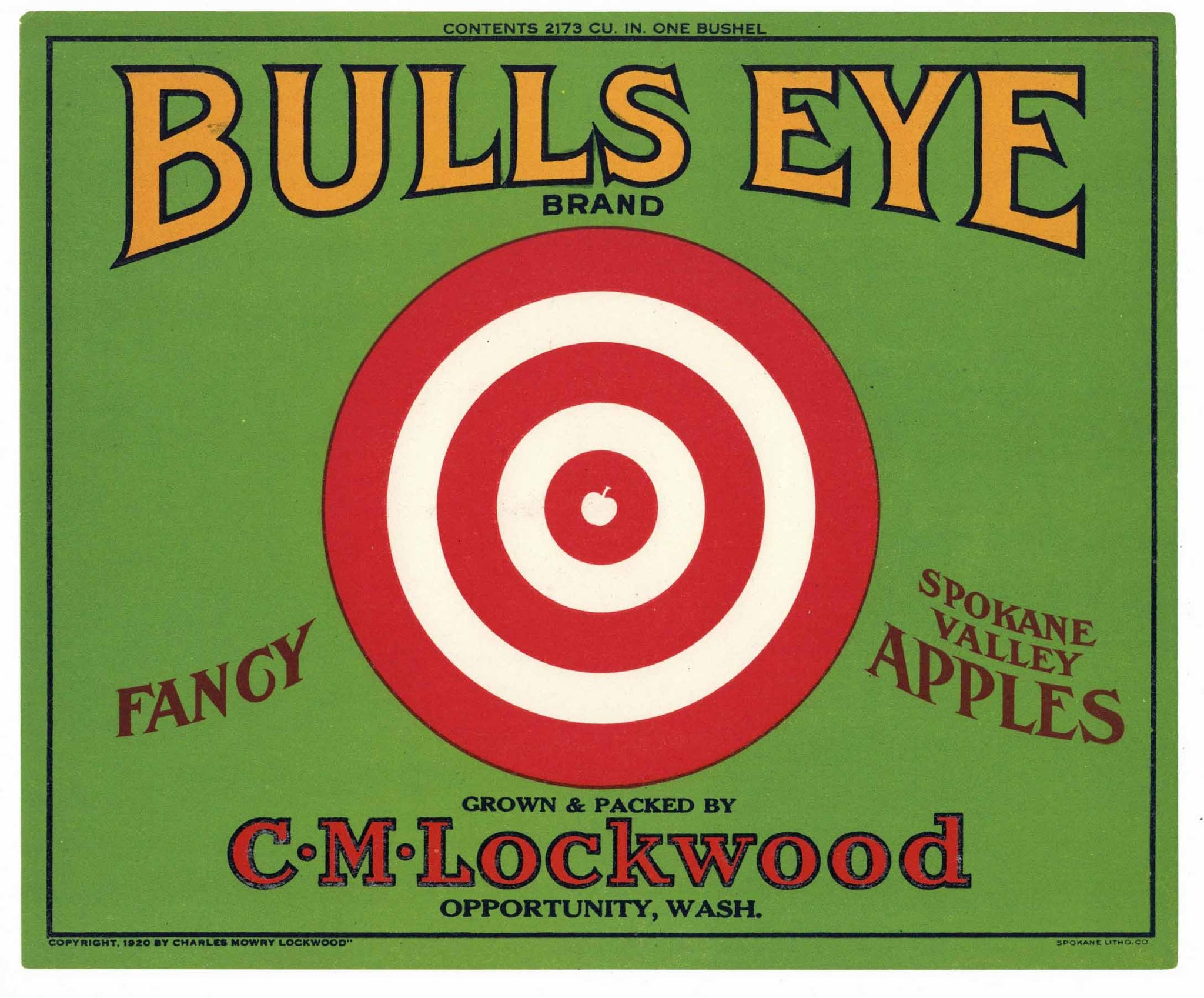 Bulls Eye Brand Vintage Washington Apple Crate Label, g
