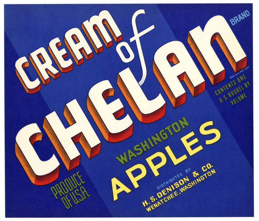 Cream Of Chelan Brand Vintage Wenatchee Washington Apple Crate Label