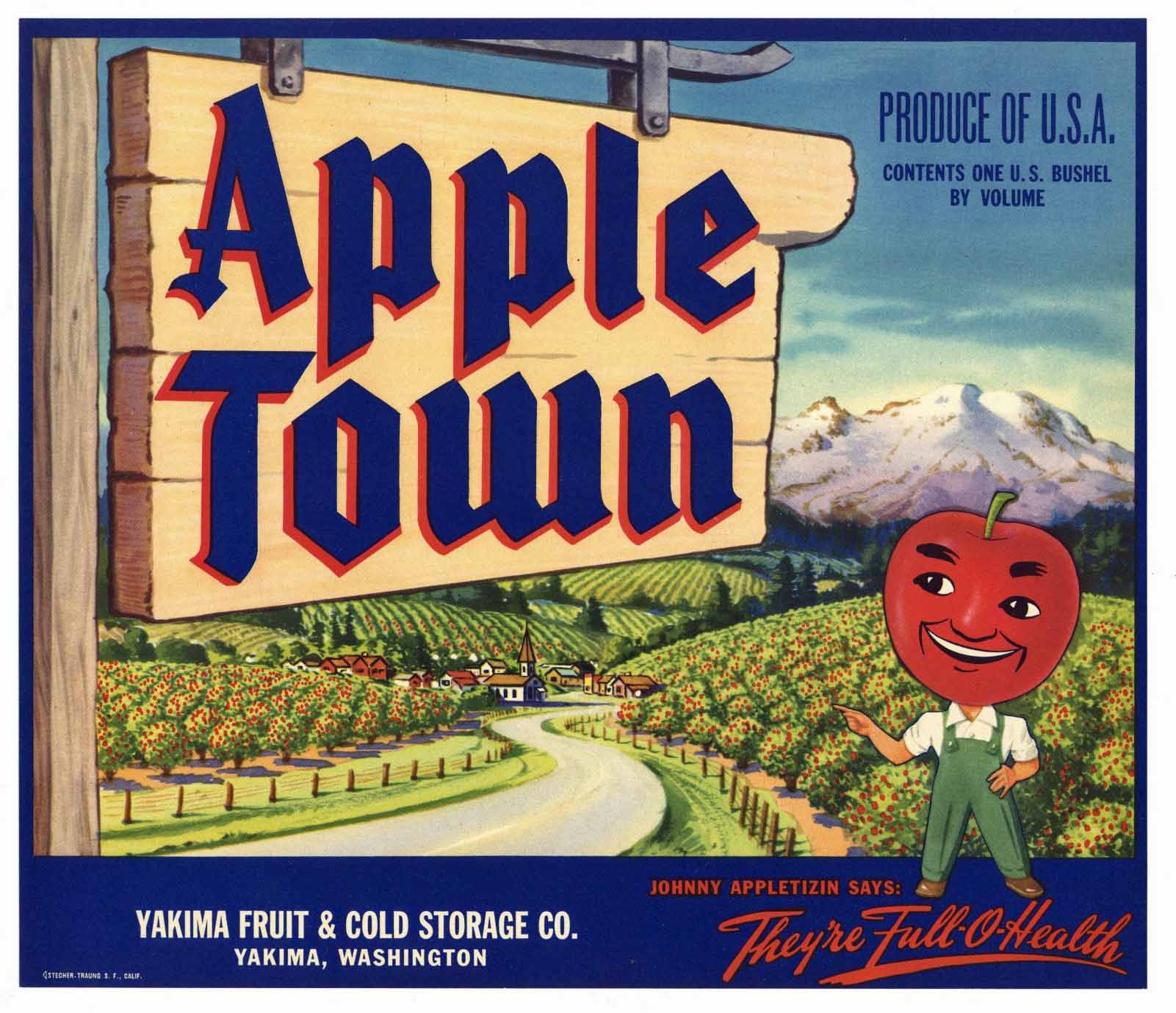 Apple Town Brand Vintage Yakima Washington Apple Crate Label
