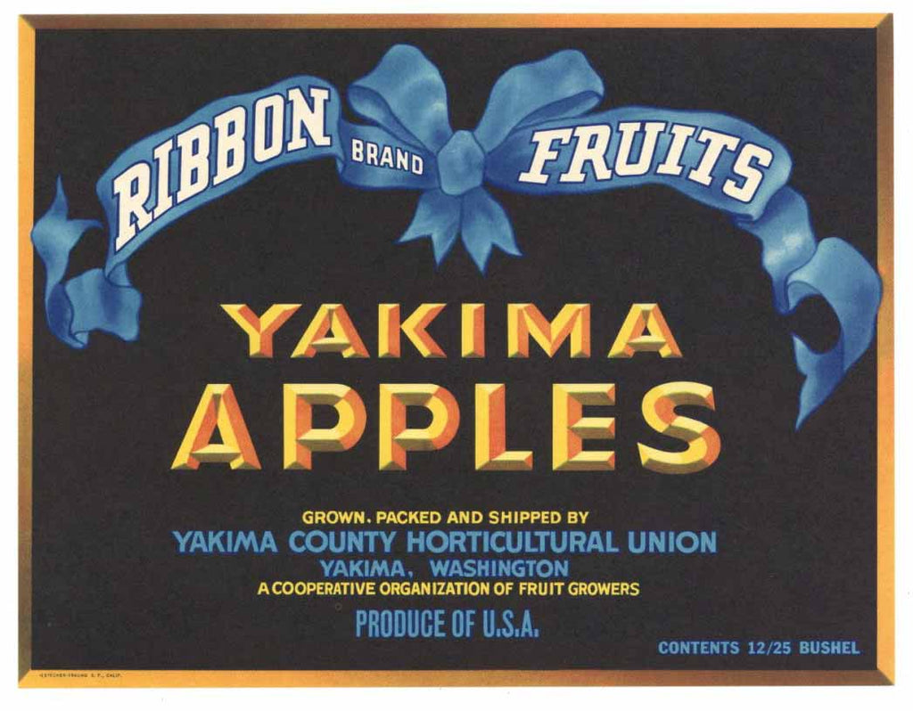 Ribbon Brand Vintage Yakima Apple Crate Label gp
