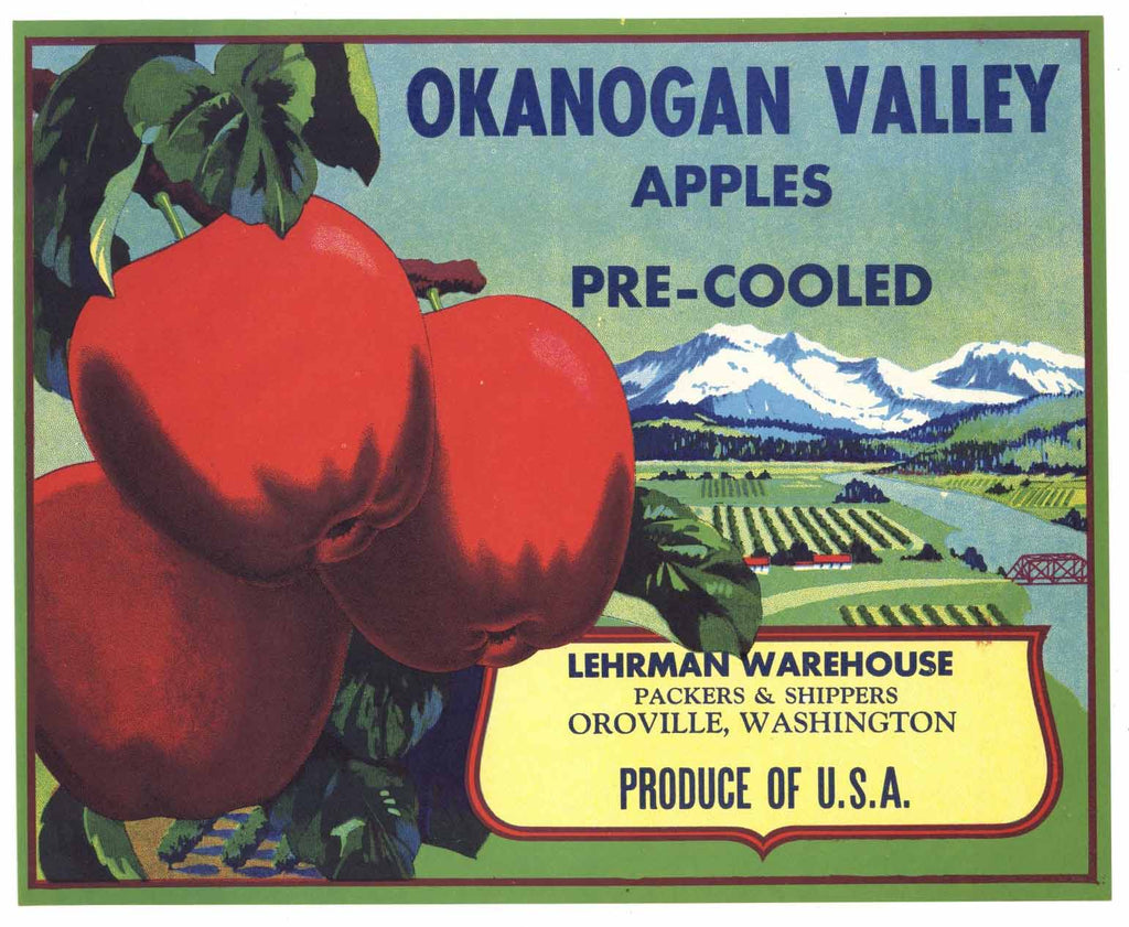 Okanogan Valley Brand Vintage Oroville Washington Apple Crate Label