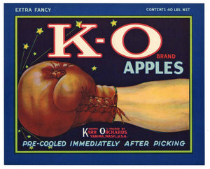 K-O Brand Vintage Yakima Washington Apple Crate Label b