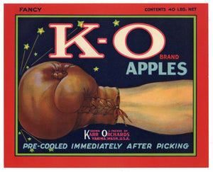 K-O Brand Vintage Yakima Washington Apple Crate Label r
