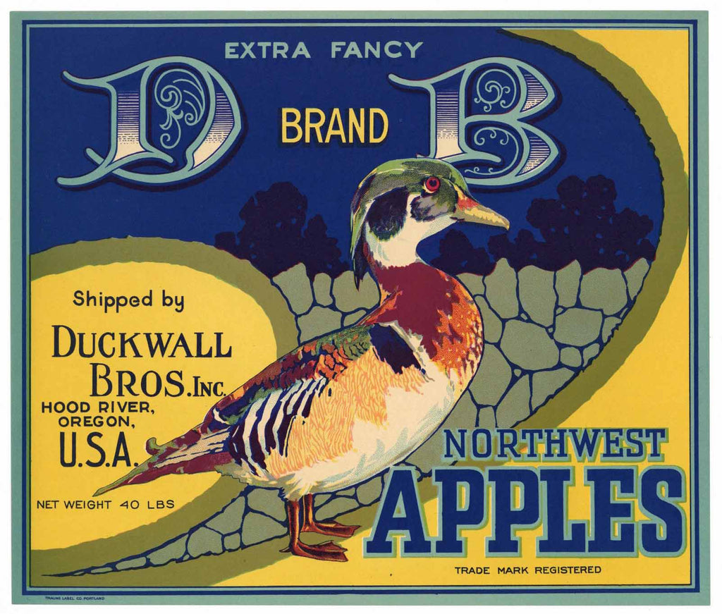 D B Brand Vintage Hood River Oregon Apple Crate Label b