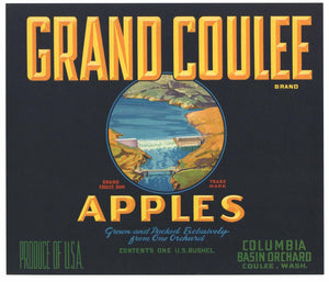 Grand Coulee Brand Vintage Washington Apple Crate Label, o