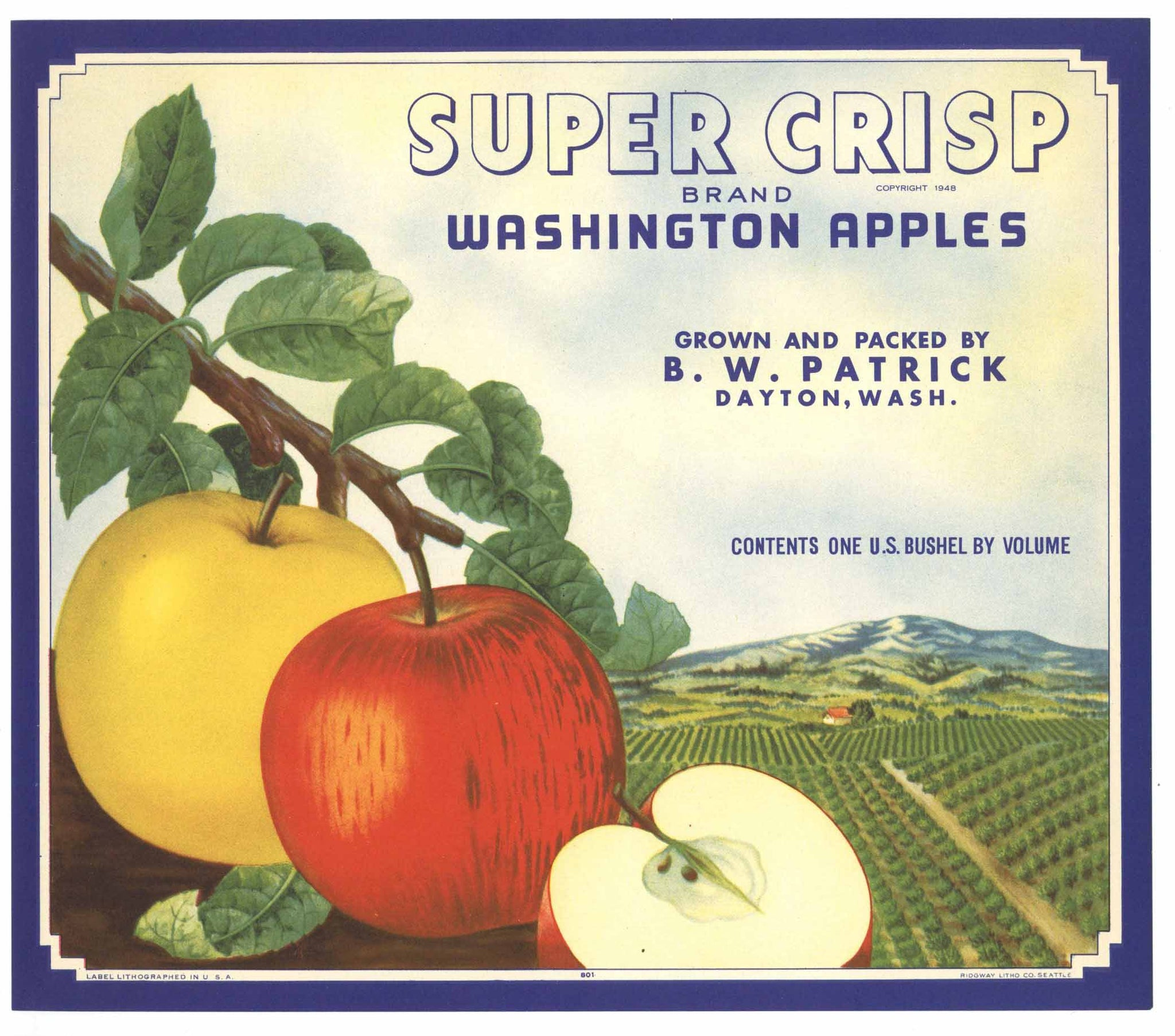 Super Crisp Brand Vintage Dayton Washington Apple Crate Label