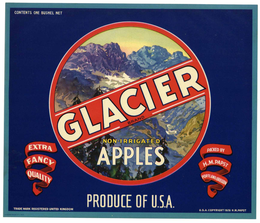 Glacier Brand Vintage Oregon Apple Crate Label