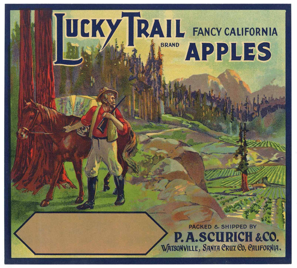 Lucky Trail Brand Vintage Watsonville Apple Crate Label b