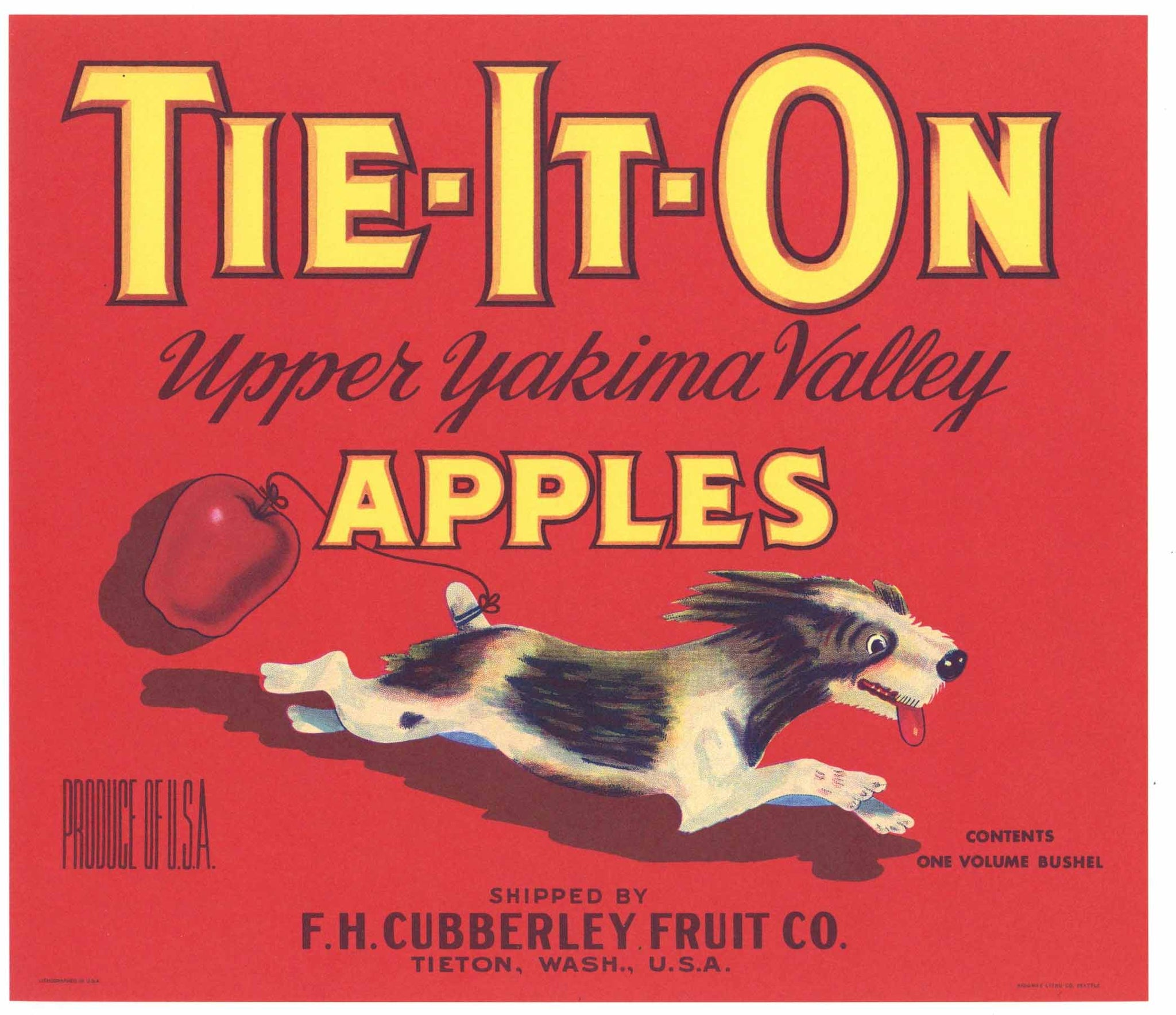 Tie-It-On Brand Vintage Tieton, Washington Apple Crate Label, red