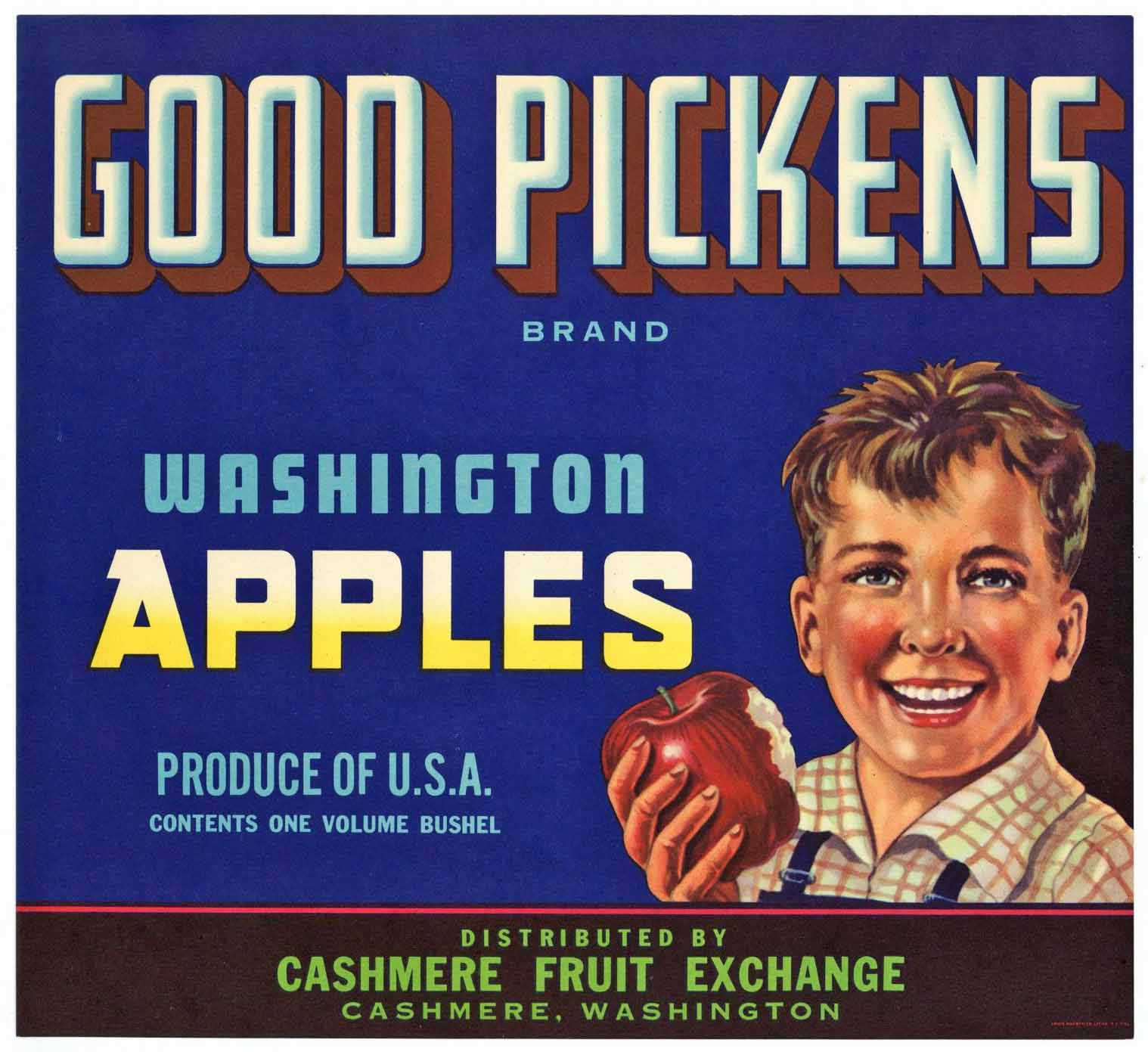 Good Pickens Brand Vintage Cashmere Washington Apple Crate Label