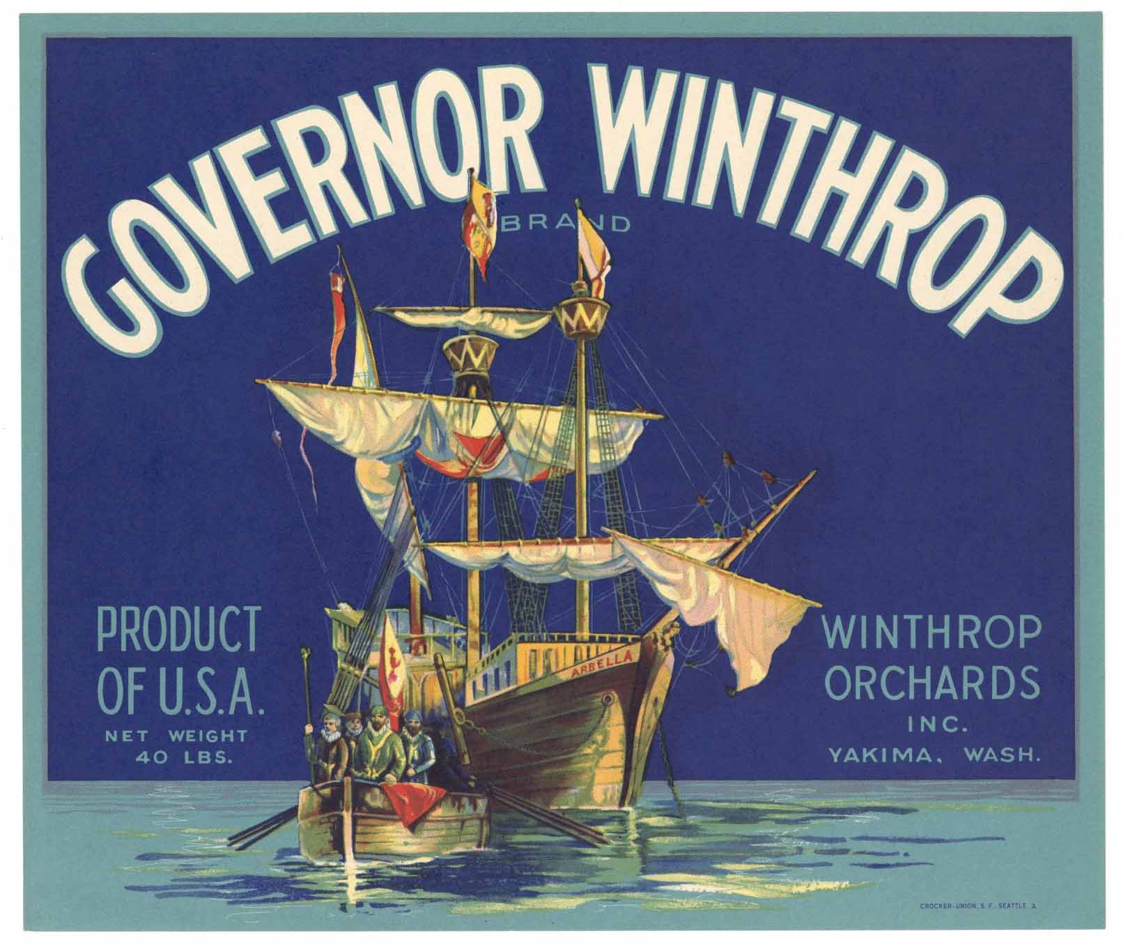 Governor Winthrop Brand Vintage Yakima Washington Apple Crate Label, b