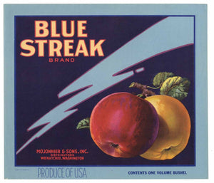 Blue Streak Brand Vintage Wenatchee Washington Apple Crate Label
