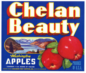 Chelan Beauty Brand Vintage Wenatchee Washington Apple Crate Label