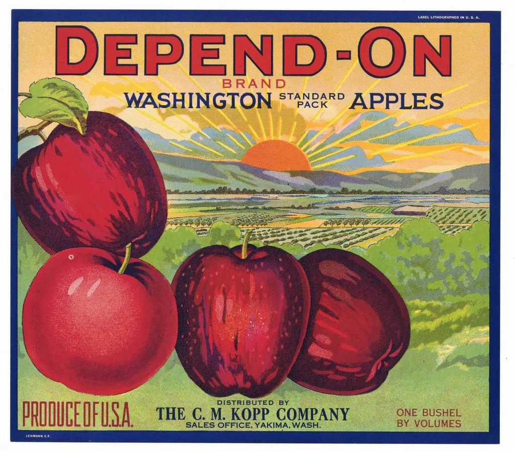 Depend-On Brand Vintage Yakima Washington Apple Crate Label, spot