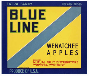 Blue Line Brand Vintage Wenatchee Washington Apple Crate Label
