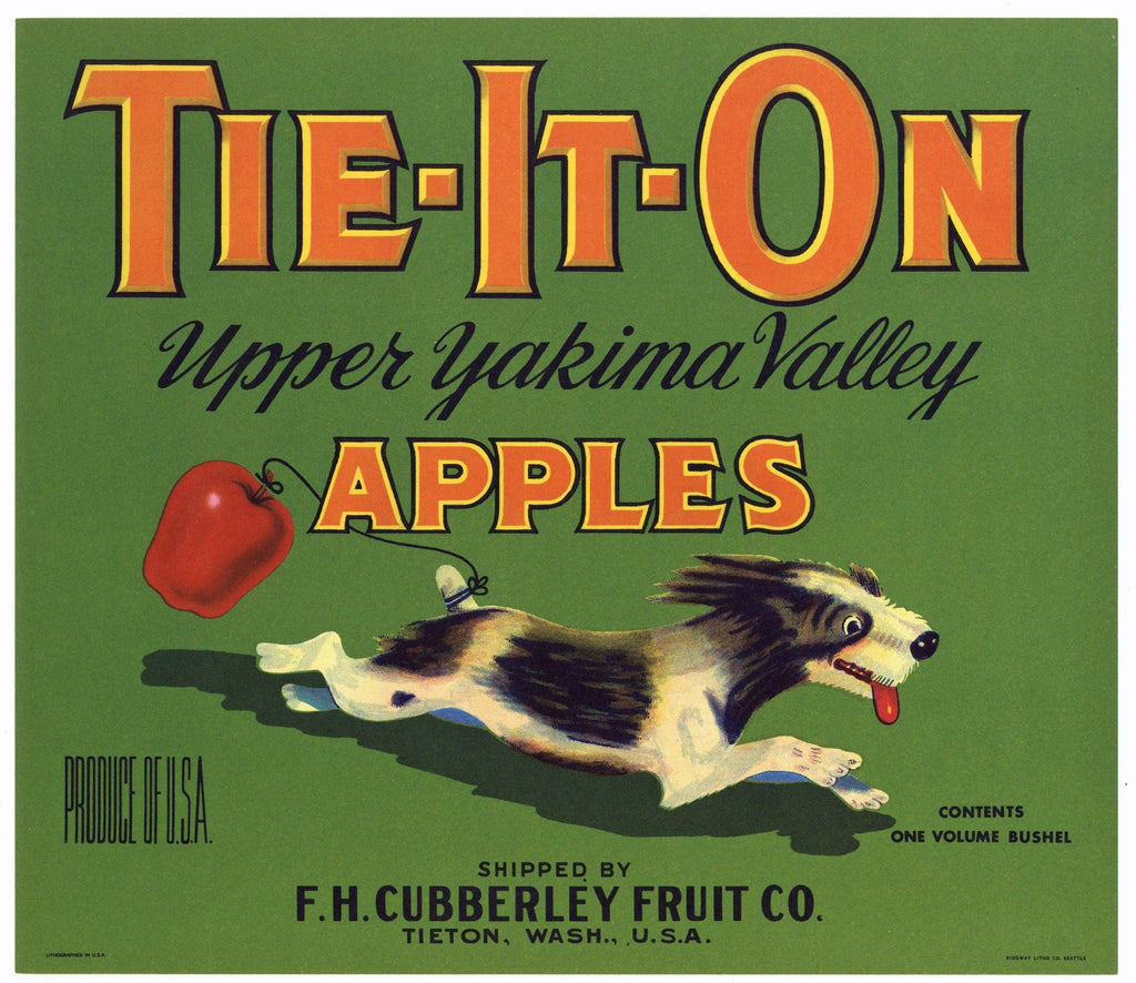 Tie-It-On Brand Vintage Tieton, Washington Apple Crate Label, green