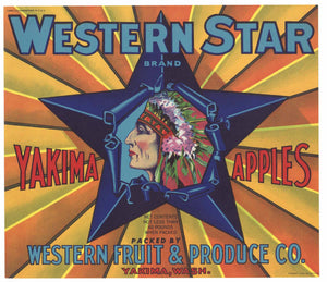 Western Star Brand Vintage Yakima Apple Crate Label