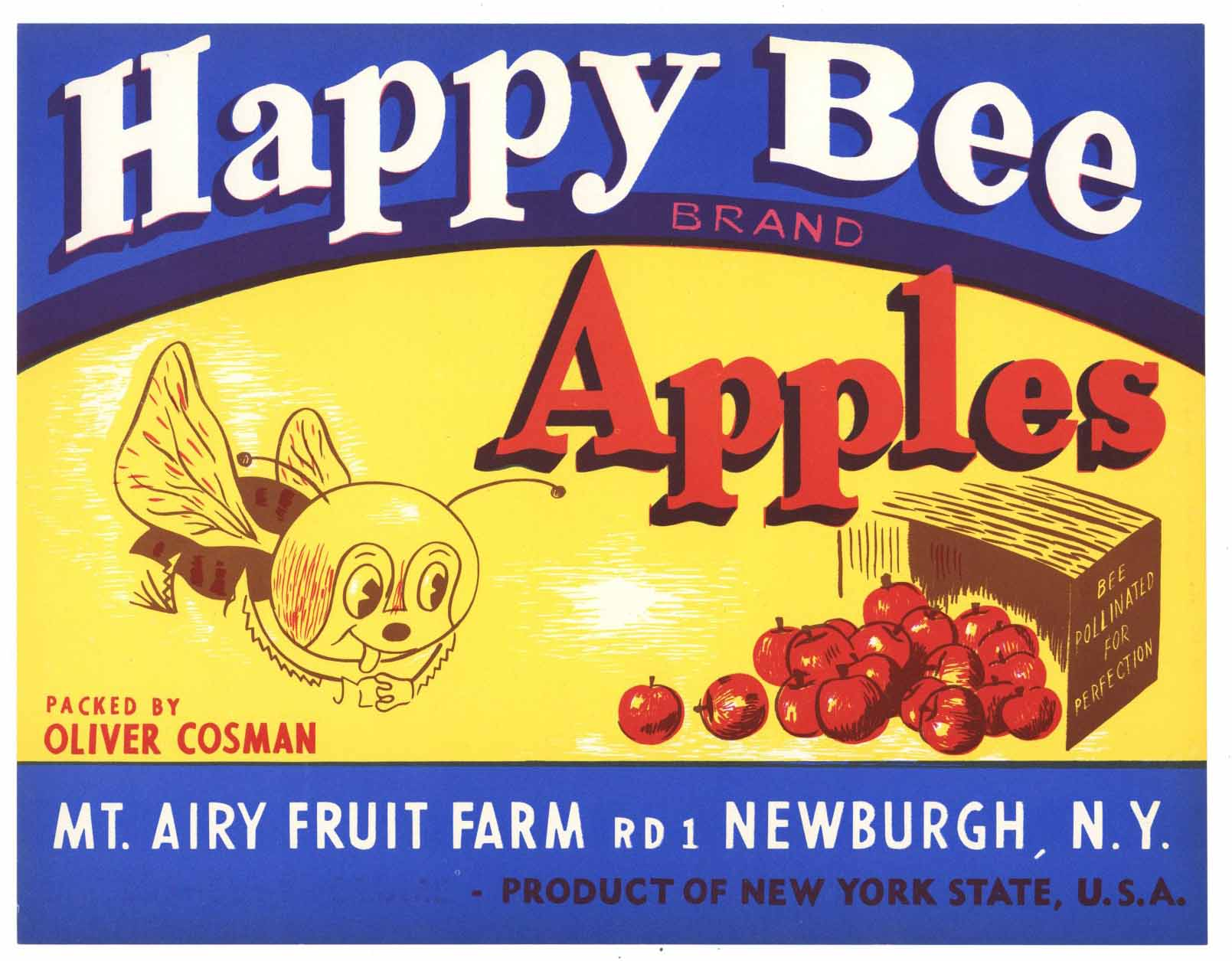 Happy Bee Brand Vintage New York Apple Crate Label