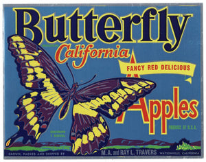 Butterfly Brand Vintage Watsonville Apple Crate Label