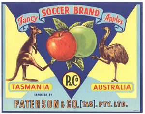 Soccer Brand Vintage Australian Apple Crate Label