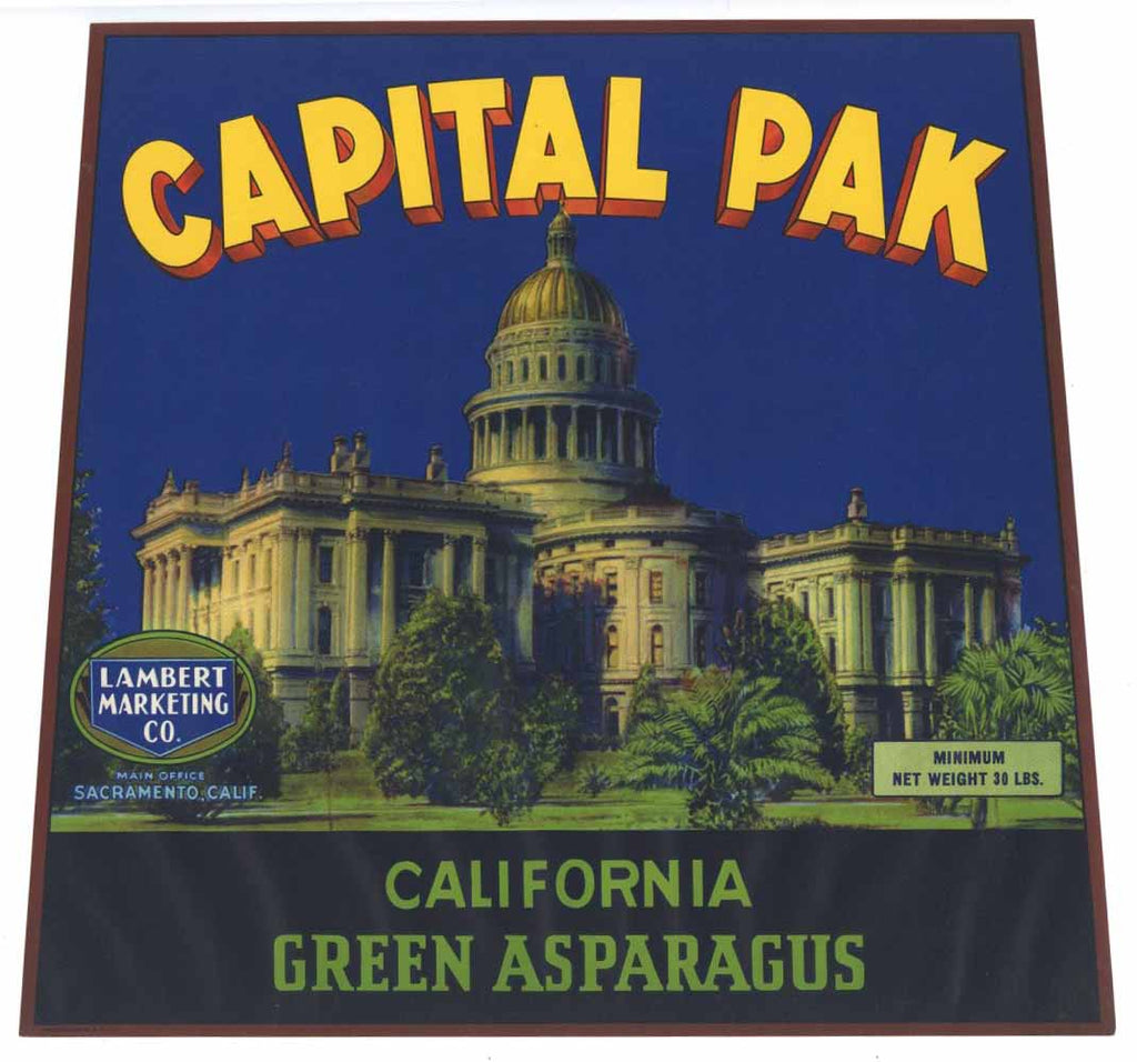 Capital Pak Brand Vintage Asparagus Crate Label