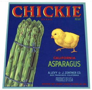 Chickie Brand Vintage Asparagus Crate Label