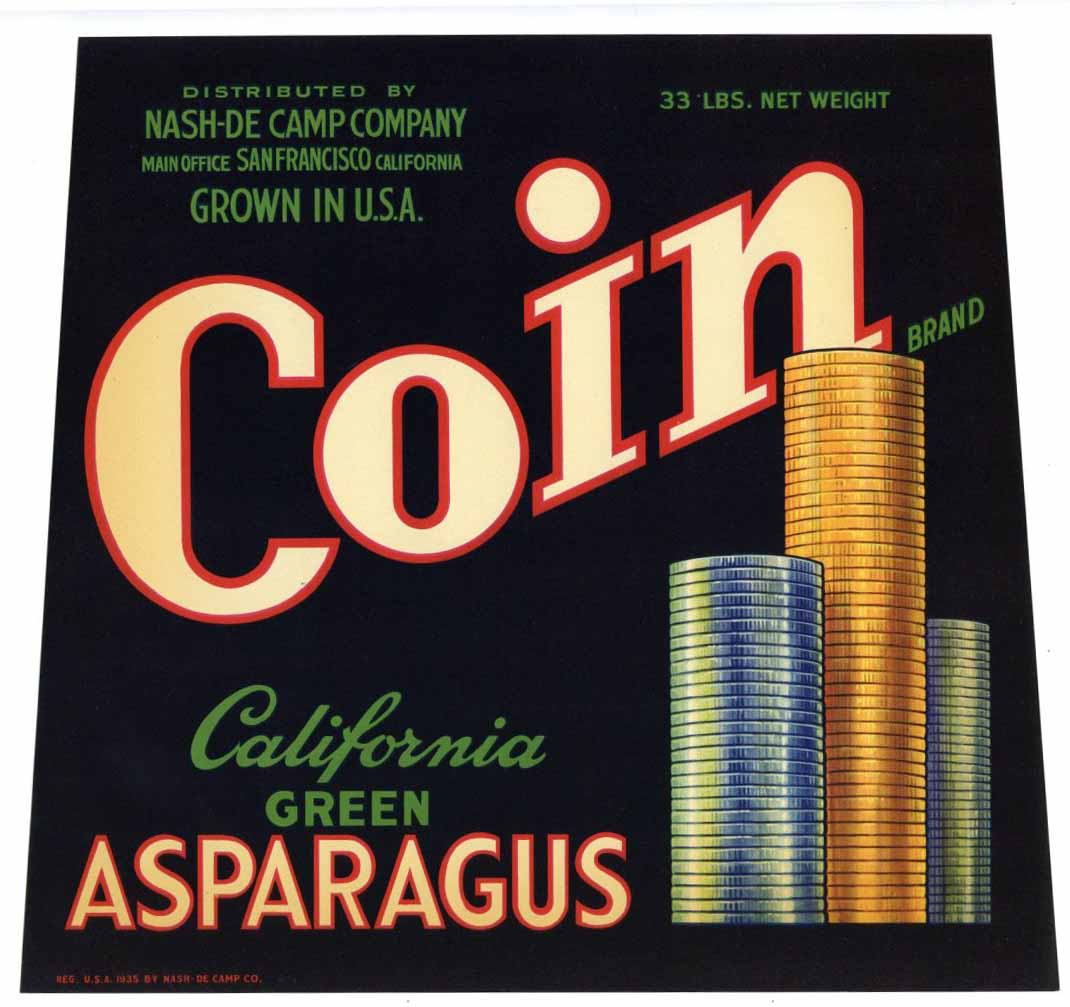 Coin Brand Vintage Asparagus Crate Label