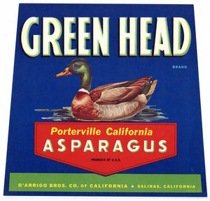 GREEN HEAD Brand Vintage Asparagus Crate Label (AS023)