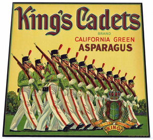KING'S CADETS Brand Vintage Asparagus Crate Label (AS026)
