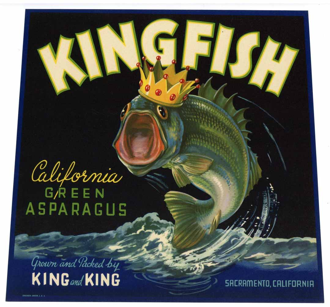 KINGFISH Brand Vintage Asparagus Crate Label (AS027)