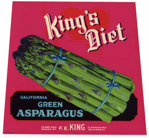 KING'S DIET Brand Vintage Asparagus Crate Label (AS028)