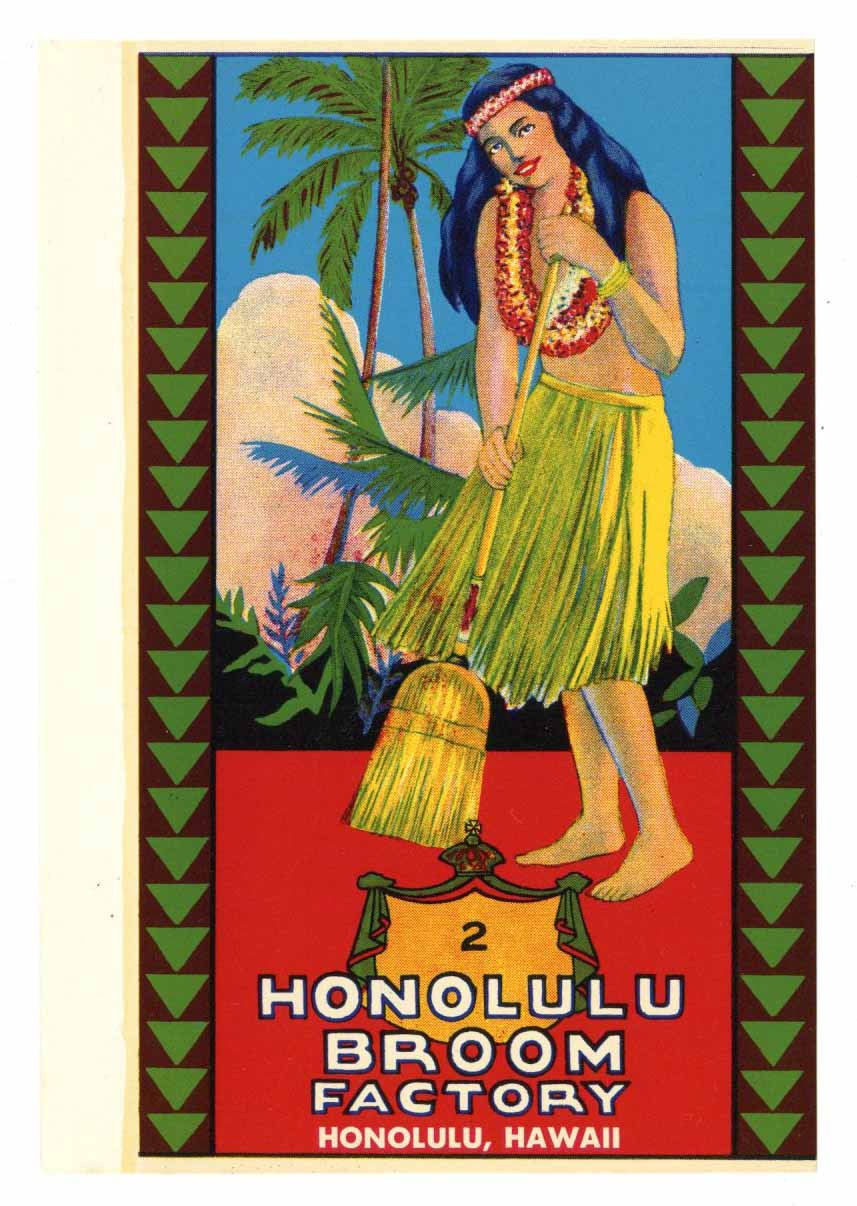 Honolulu Broom Factory Brand Vintage Hawaiian Broom Label
