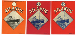 Atlantic Brand Vintage Baltimore Maryland Broom Labels, set of 3
