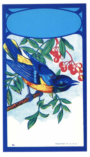 Stock Broom Label With Blue Bird