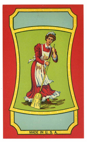 Stock Broom Label With Woman Sweeping, little miss
