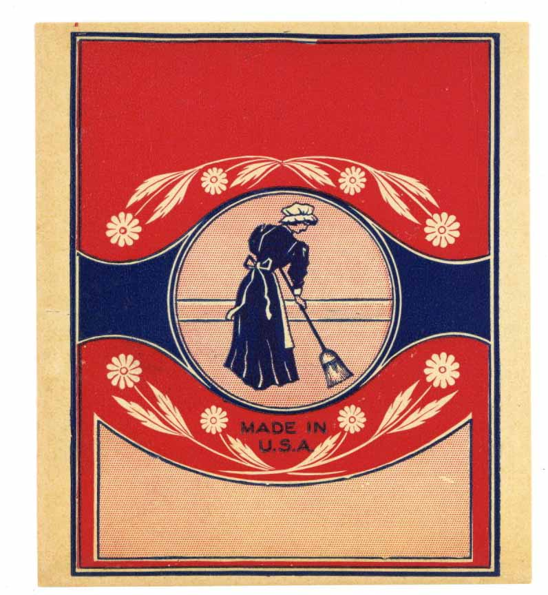 Stock Broom Label With Woman Sweeping, daisy